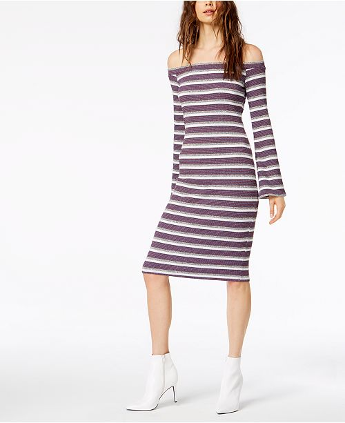 82dd650ca70f Socialite Striped Off-The-Shoulder Midi Dress - Dresses - Juniors ...