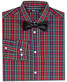 Tommy Hilfiger Big Boys Stretch Plaid Shirt with Bow Tie