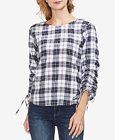 Vince Camuto Plaid Ruched-Sleeve Top