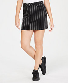 Vanilla Star Juniors' Cotton Striped Mini Skirt