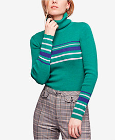 Free People Aspen Striped Ribbed Turtleneck