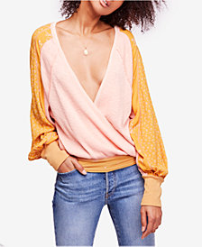 Free People Auxton Thermal Mixed-Print V-Neck Top