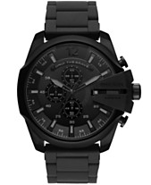 ccc3a50696fe Diesel Men s Chronograph Mega Chief Black Stainless Steel Bracelet Watch  48mm