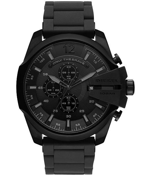 ... Diesel Men s Chronograph Mega Chief Black Stainless Steel Bracelet Watch  ... 7de7e613faa