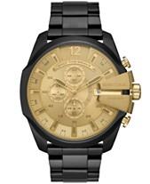 cf24186f313 Diesel Men s Chronograph Mega Chief Black Stainless Steel Bracelet Watch  51mm