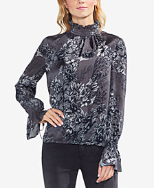 Vince Camuto Printed Mock-Neck Bell-Sleeve Top