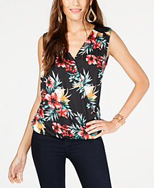 Thalia Sodi Floral-Print Sleeveless Surplice Top, Created for Macy's
