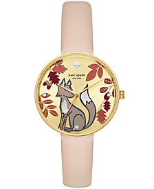 kate spade new york Women's Metro Nude Leather Strap Watch 36mm
