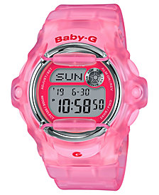 Baby-G Women's Digital Pink Jelly Strap Watch 42.6mm
