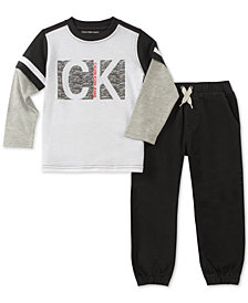 Calvin Klein Little Boys 2-Pc. Faux-Layer Graphic Shirt & Jogger Pants Set