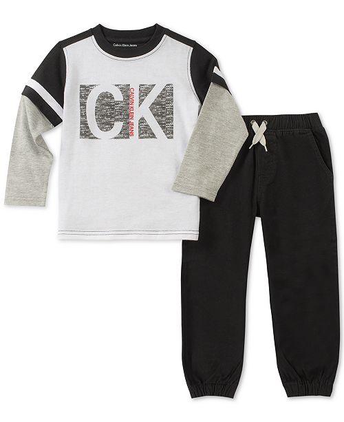 f9591c2608bb0 Calvin Klein Little Boys 2-Pc. Faux-Layer Graphic Shirt   Jogger Pants