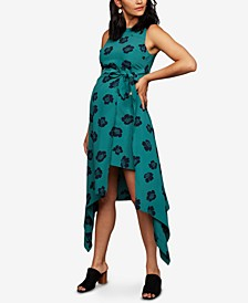 Maternity Handkerchief-Hem Midi Dress