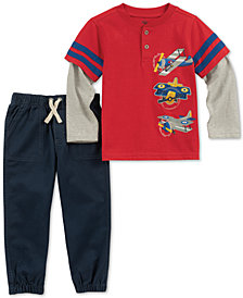 Kids Headquarters Toddler Boys 2-Pc. Airplane Graphic Henley & Pants Set