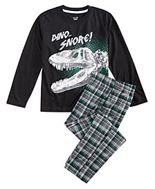 Max & Olivia Little & Big Boys 2-Pc. Dino Snore Pajama Set