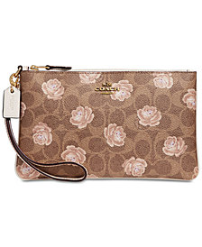 COACH Signature Rose Print Wristlet