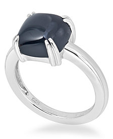 Onyx (10mm) Curved Claw Ring in Sterling Silver