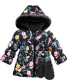 S Rothschild & CO Baby Girls 2-Pc. Floral-Print Hooded Jacket & Fleece Mittens Set