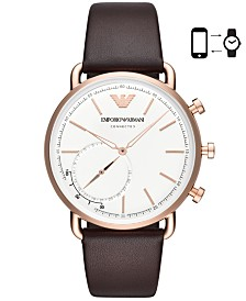 Emporio Armani Men's Brown Leather Strap Hybrid Smart Watch 43mm