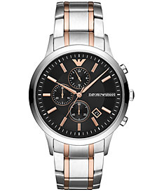 Emporio Armani Chronograph Men's Two-Tone Stainless Steel Bracelet Watch 43mm