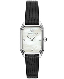 Emporio Armani Women's Black Leather Strap Watch 24x36mm