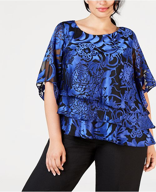 cd7dc486b85 Alex Evenings Plus Size Printed Tiered Top - Tops - Women - Macy s
