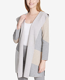 Calvin Klein Hooded Colorblocked Cardigan