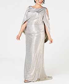 Betsy & Adam Plus Size Metallic Cold-Shoulder Cape Gown
