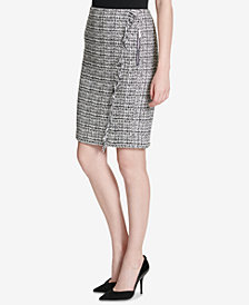 Calvin Klein Tweed Fringe-Trim Pencil Skirt