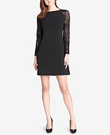 Lace-Sleeve A-Line Dress