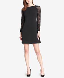 Tommy Hilfiger Lace-Sleeve A-Line Dress
