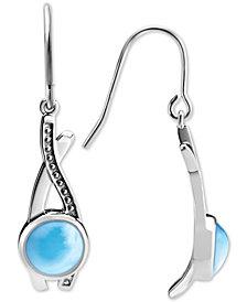 Marahlago Larimar Twist Drop Earrings in Sterling Silver
