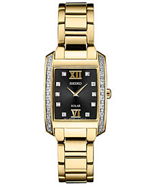 Seiko Women's Solar Diamond Collection Diamond-Accent Gold-Tone Stainless Steel Bracelet Watch 24mm