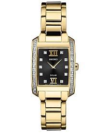 Seiko Women's Solar Diamond Collection Diamond-Accent Gold-Tone Stainless Steel Bracelet Watch 24mm