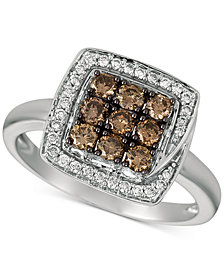 Le Vian Chocolatier® Diamond Square Halo Cluster Ring (5/8 ct. t.w.) in 14k White Gold