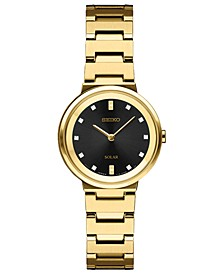 Women's Solar Diamond Collection Diamond-Accent Gold-Tone Stainless Steel Bracelet Watch 27.5mm