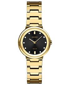 Seiko Women's Solar Diamond Collection Diamond-Accent Gold-Tone Stainless Steel Bracelet Watch 27.5mm