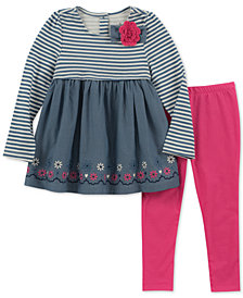 Kids Headquarters Baby Girls 2-Pc. Mixed Media Tunic & Leggings Set