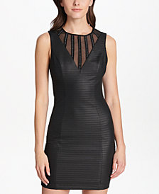 GUESS Illusion-Striped Bodycon Dress