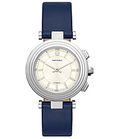 Women's Classic T Navy Leather Strap Hybrid Smart Watch 36mm