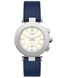 Tory Burch Women's Classic T Navy Leather Strap Hybrid Smart Watch 36mm