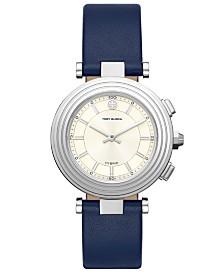 Tory Burch Women's Classic T Navy Leather Strap Hybrid Smart Watch 36mm