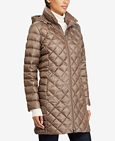 Lauren Ralph Lauren Hooded Diamond Quilted Packable Down Puffer Coat