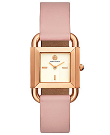 Tory Burch Women's Phipps Pink Leather Strap Watch 29x42mm
