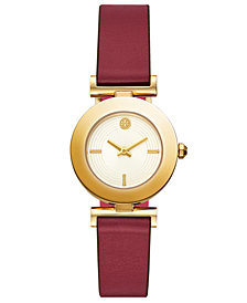 Tory Burch Women's Sawyer Red & Pink Pull & Twist Reversible Leather Strap Watch 29mm