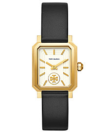 Tory Burch Women's Robinson Black Leather Roller Bar Strap Watch 27x29mm