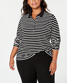 Tommy Hilfiger Plus Size Striped Polo Shirt, Created for Macy's