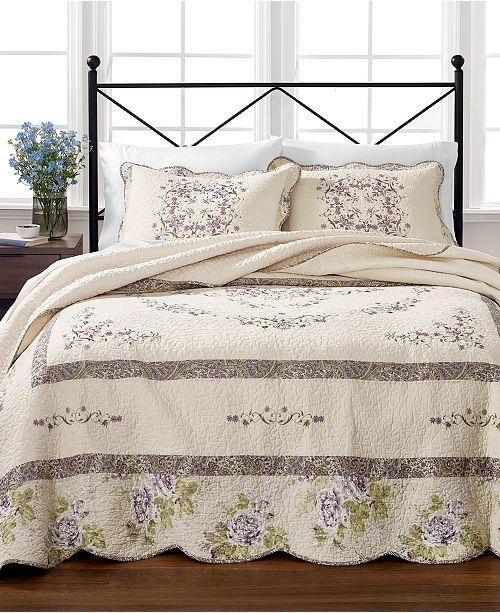 Martha Stewart Collection Midland Vine 100% Cotton Bedspread and Sham Collection, Created for Macy's