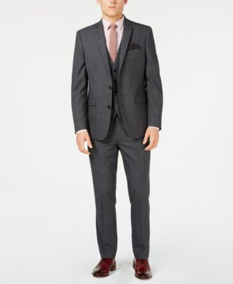Men's Slim-Fit Active Stretch Gray Windowpane Sharkskin Suit Jacket, Created for Macy's