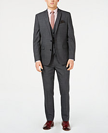 Bar III Men's Slim-Fit Active Stretch Gray Windowpane Sharkskin Vested Suit Separates, Created for Macy's