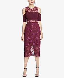 RACHEL Rachel Roy Cold-Shoulder Mixed-Media Bodycon Dress